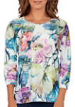 Petite Bryce Canyon Floral Center Lace Crew Neck Top