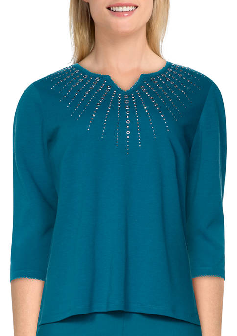 Alfred Dunner Petite Bryce Canyon Sunburst Embroidered Top