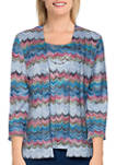 Petite Bryce Canyon  Casual Textured Two For One Top with Necklace