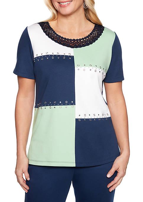 Alfred Dunner Cote DAzure Color Block Knit Top