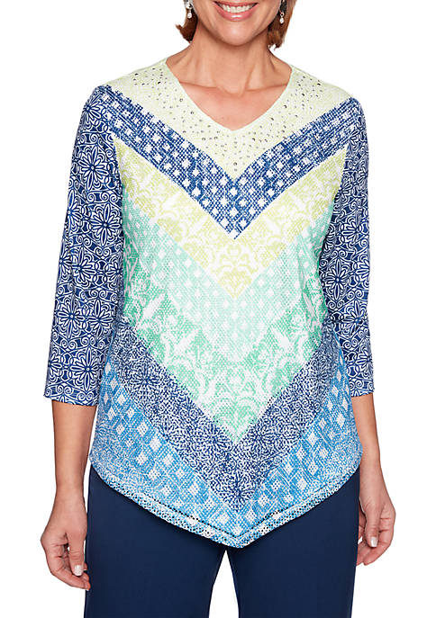 Alfred Dunner Cote DAzure Chevron Mesh Knit Top