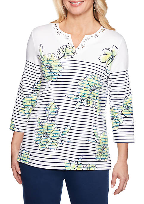 Alfred Dunner Cote DAzure Floral Pinstripe Knit Top