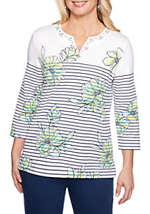 43c842e2809 ... Alfred Dunner Cote D Azure Floral Pinstripe Knit Top