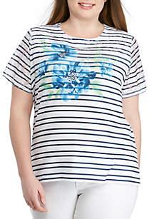 Alfred Dunner Plus Size Cote D'Zur Yoke Floral Stripe Knit Top