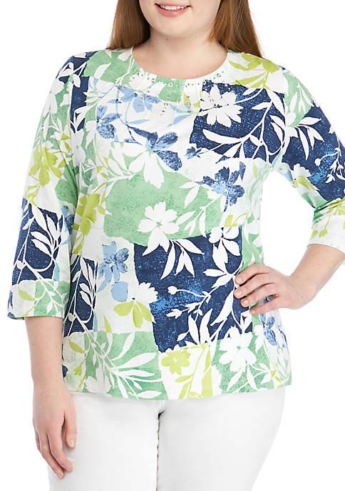 Alfred Dunner Plus Size Cote DZur Patchwork Floral
