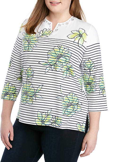 Alfred Dunner Plus Size Cote DZur Floral Pinstripe