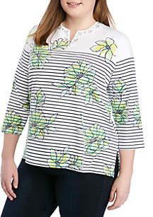 Alfred Dunner Plus Size Cote D'Zur Floral Pinstripe Knit Top