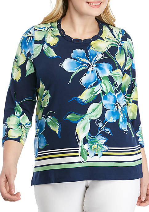 Alfred Dunner Plus Size Cote DAzur Floral Knit