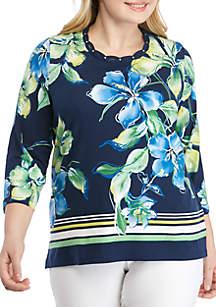 Alfred Dunner Plus Size Cote D'Azur Floral Knit Top