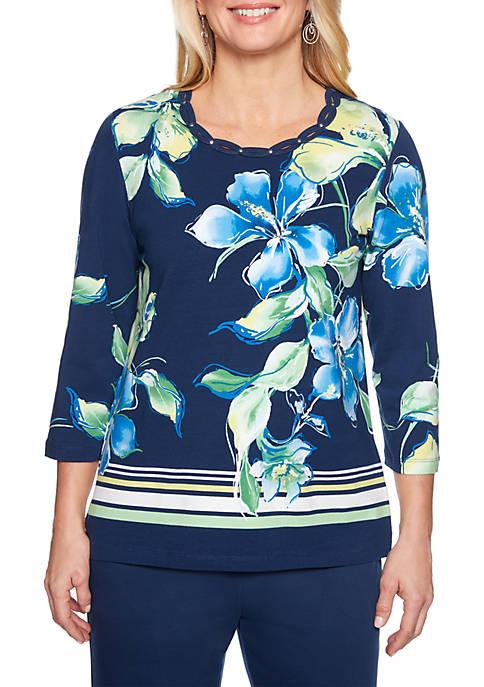 Petite Cote DAzure Border Stripe Floral Knit Top