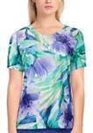 Womens Short Sleeve Tropical Print Top