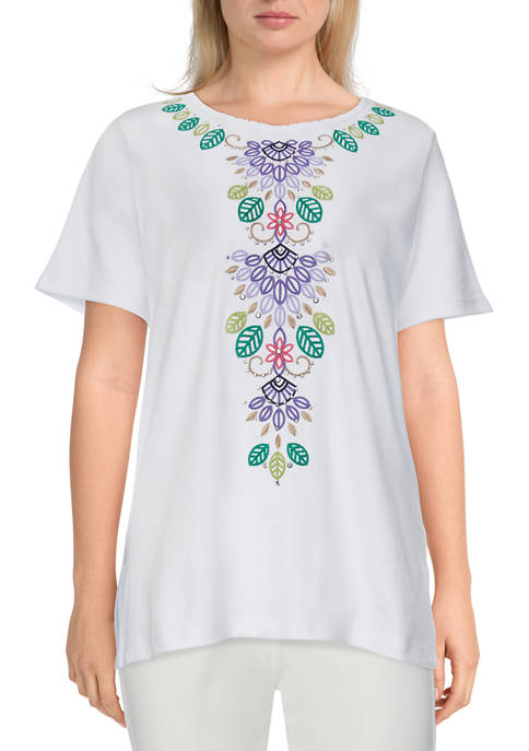 Alfred Dunner Womens Savannah Center Leaf Embroidery Top