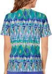 Womens Short Sleeve Geometric Biadere Print Top