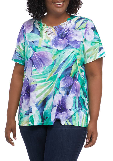 Alfred Dunner Plus Size Savannah Tropical Print Knit