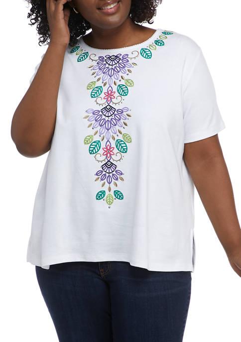 Plus Size Asymmetrical Floral Knit Top