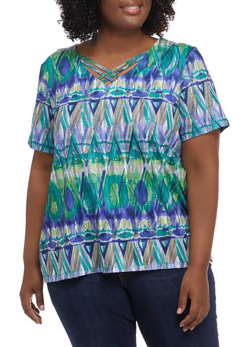Plus Size Savannah Geometric Biadere Knit Top