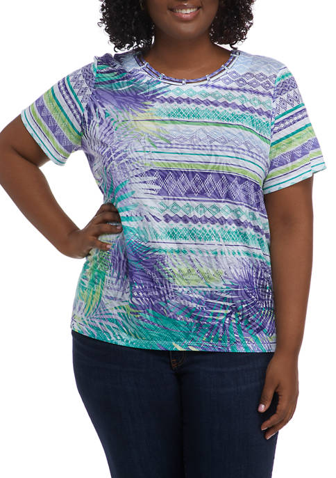 Alfred Dunner Plus Size Savannah Abstract Leaf Biadere