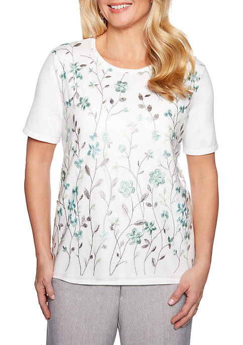 Alfred Dunner Versailles Floral Mesh Overlay Sweater