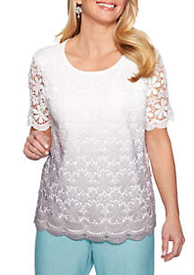 Alfred Dunner Versailles Lace Ombre Sweater