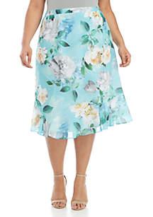 Alfred Dunner Plus Size Versailles Godset Roses Skirt