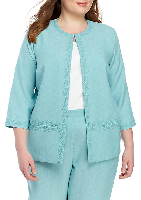 Alfred Dunner Plus Size Versailles Lace Trim Jacket