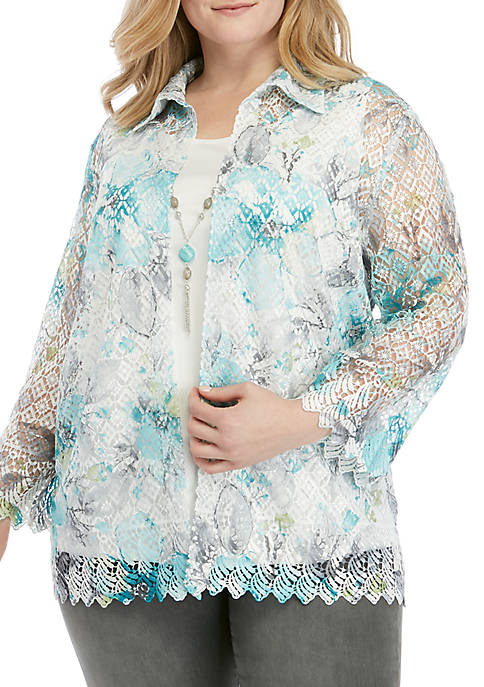 Plus Size Versailles Printed Lace 2Fer Top