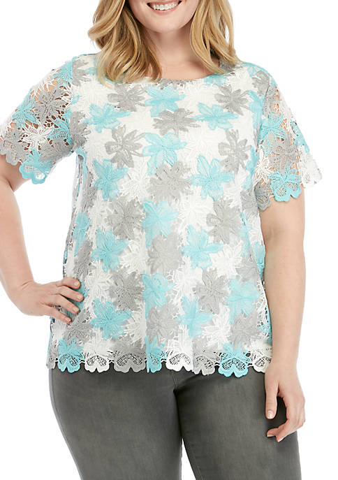 Plus Size Versailles Lace Floral Overlay Top