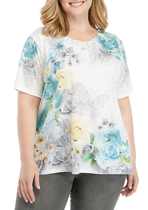 Alfred Dunner Plus Size Versailles Butterfly Knit Top