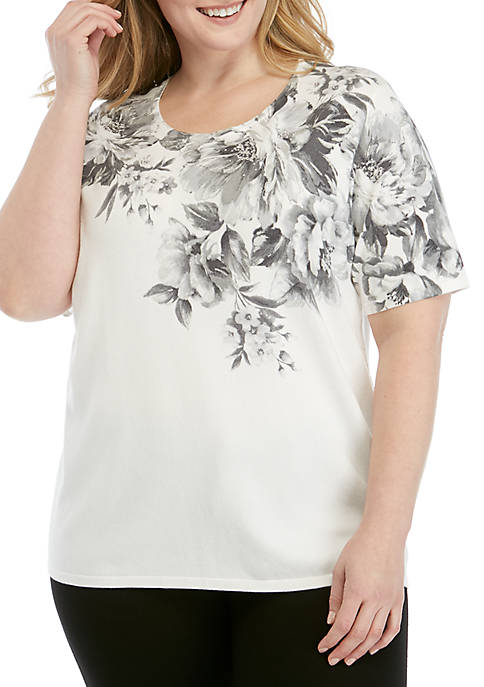 Alfred Dunner Plus Size Versailles Brushstroke Floral Sweater