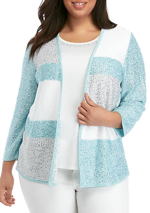Plus Size Versailles Sequin Colorblock 2 for 1 Sweater