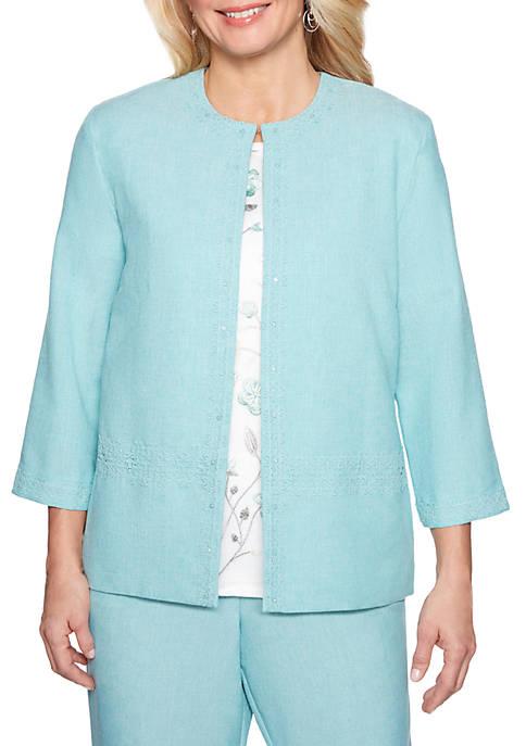 Petite Versailles Lace Trim Jacket