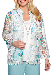 Alfred Dunner Petite Versailles Printed Lace 2Fer