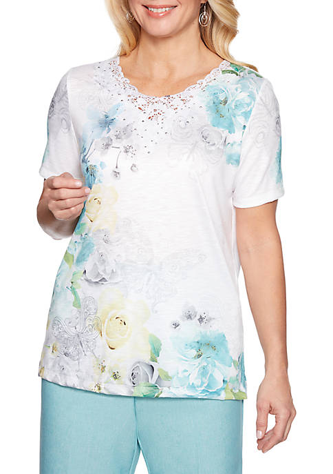 Petite Versailles Butterfly Floral Top