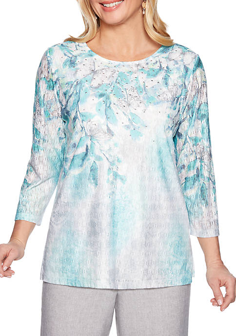 Alfred Dunner Petite Versailles Allover Floral Knit Top