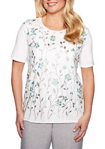 Alfred Dunner Petite Versailles Floral Mesh Overlay Sweater