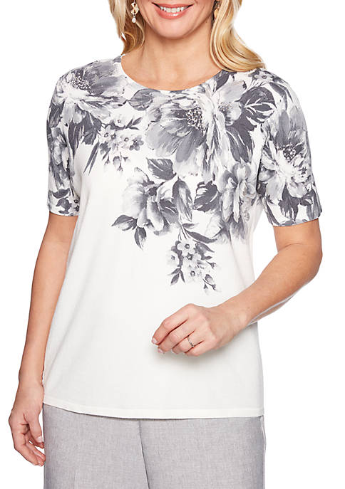 Alfred Dunner Petite Versailles Brush Stroke Floral Sweater