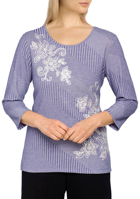 Womens Missy Easy Living Floral Embroidered Soft Ribbed Top