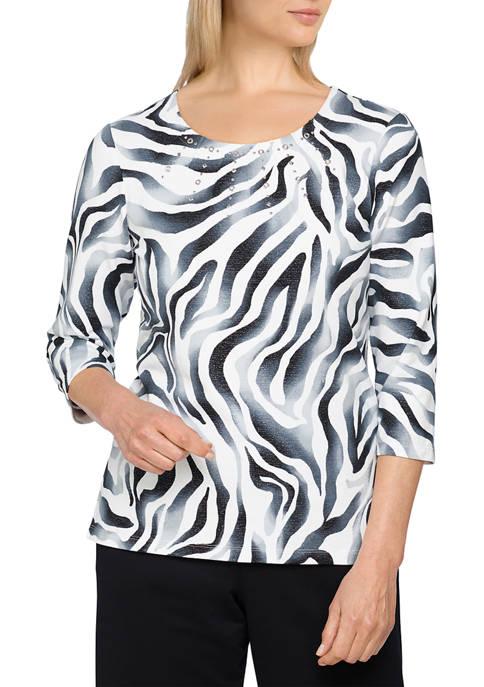 Womens Easy Living Casual Zebra Print Top