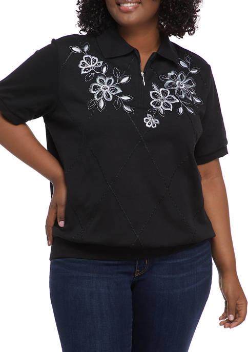 Plus Size Floral Yoke Knit Top