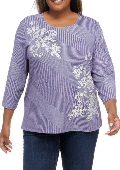 Alfred Dunner Plus Size Easy Living Floral Embroidered