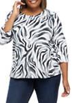 Plus Size Easy Living Zebra Print Knit Top