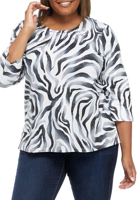 Alfred Dunner Plus Size Easy Living Zebra Print