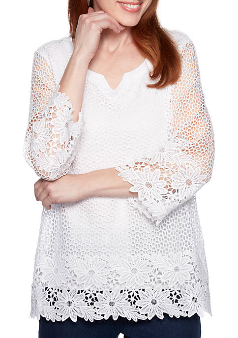 Smooth Sailing Crochet Lace Knit Top