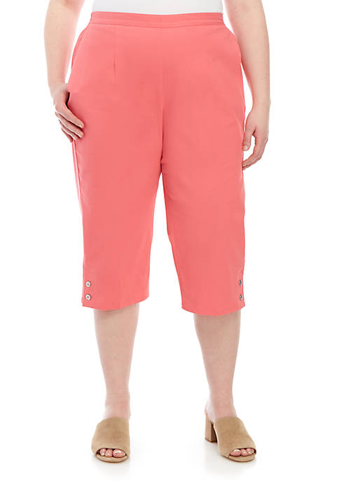 Alfred Dunner Plus Size Button Cuff Capris