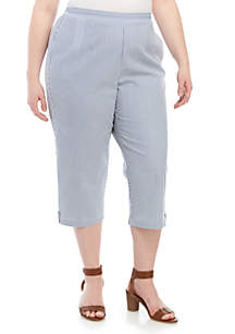 Alfred Dunner Plus Size Button Tab Stripe Capris