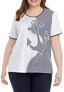 2439c089ac6b7 ... Alfred Dunner Plus Size Short Sleeve Splice Anchor Stripe Top
