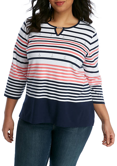 Alfred Dunner Plus Size Smooth Sailing Stripe T