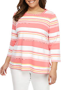 4470d6c952089 ... Alfred Dunner Plus Size Smooth Sailing Monotone Stripe T Shirt