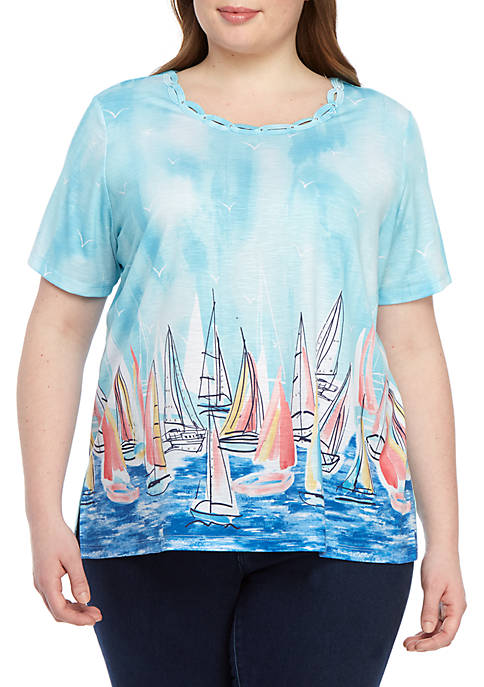 Alfred Dunner Plus Size Short Sleeve Sailboat Knit