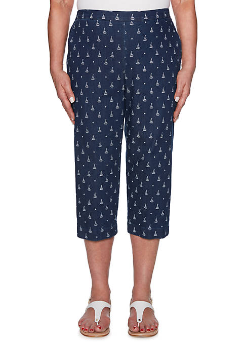 Alfred Dunner Petite Smooth Sailing Sailboat Capris